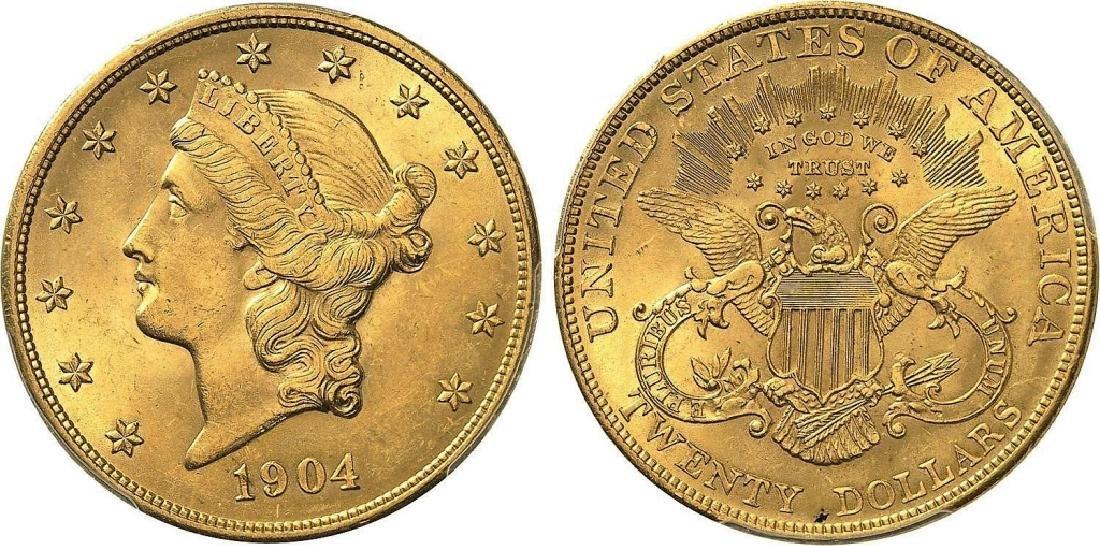 1904 AU/BU $20 Gold Liberty