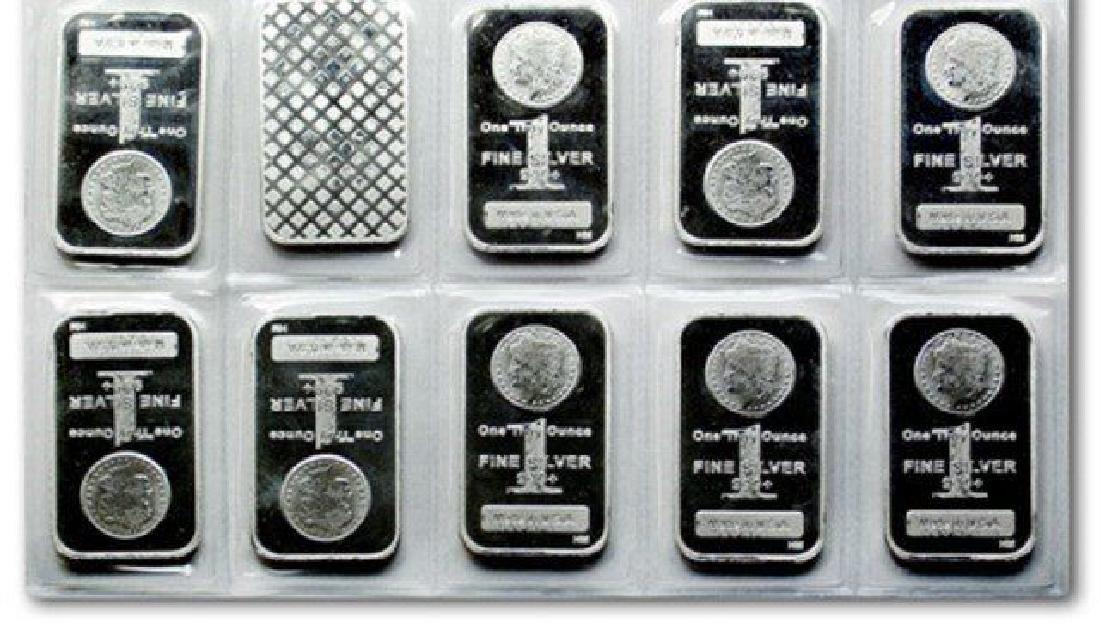 (10) 1 oz. Silver Morgan Design Silver Bars