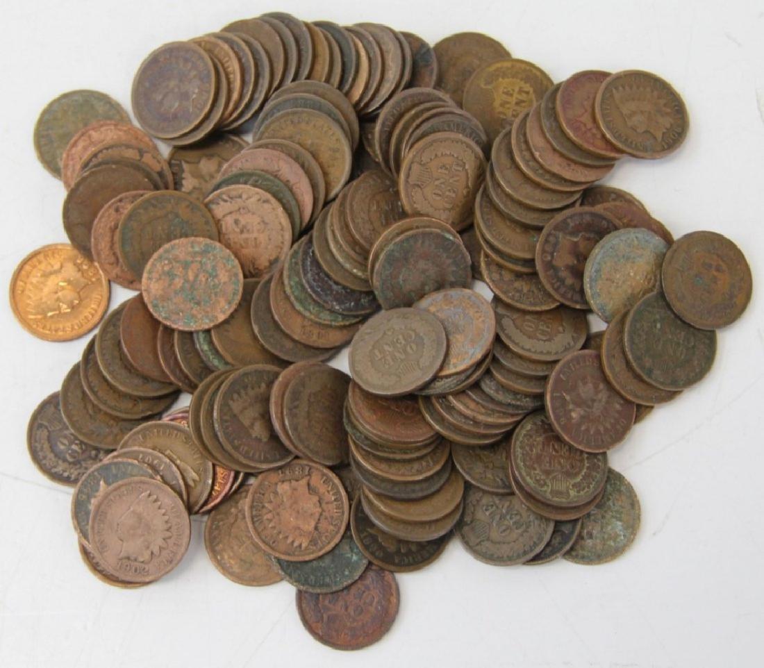 (125) Random Date Indian Head Cents As Shown