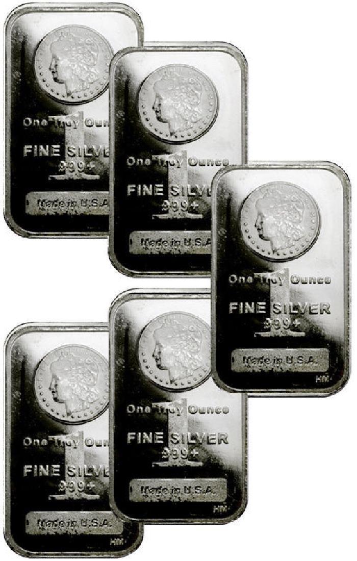 (5) 1 oz. Silver Morgan Design Silver Bars