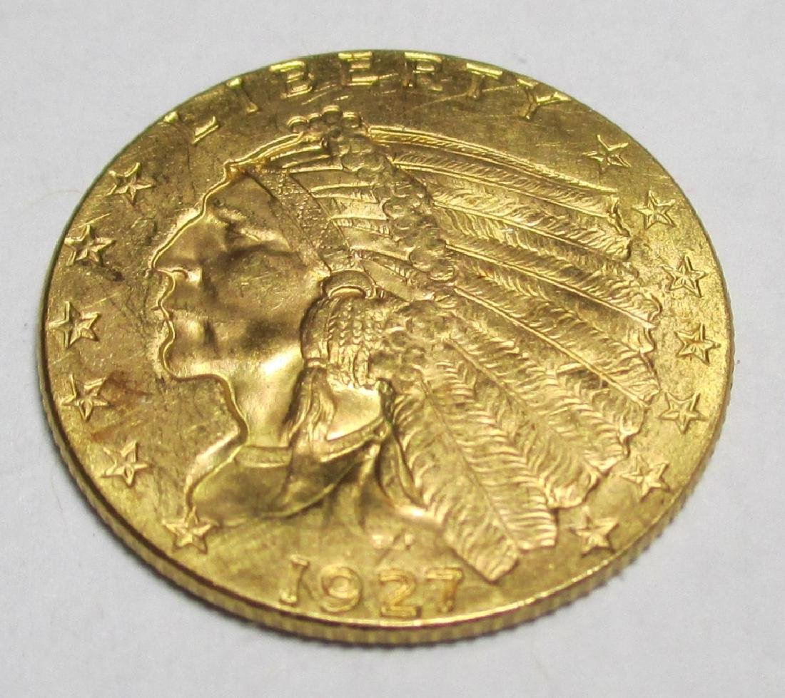 1927 $2.5 Gold Indian XF/AU Grade
