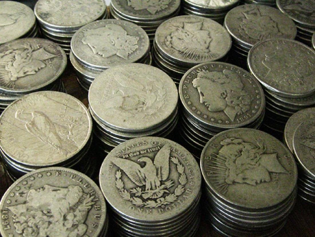 200 pcs. Mixed Type Silver Dollars-Morg-Peace