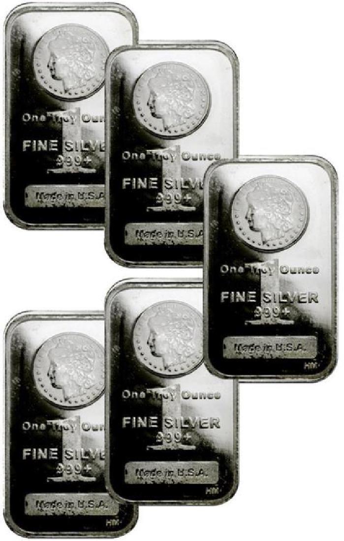 Lot of 5- Morgan Design Silver Bars 1 oz.Each - 2