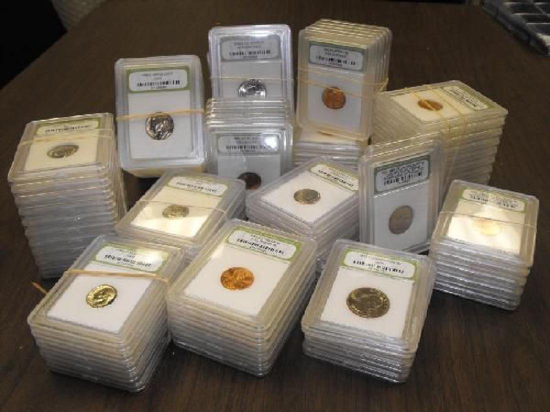 100 pcs. BU and Proof INB Slab Coins