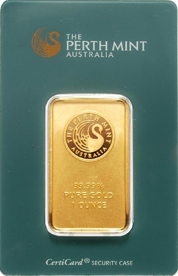 1 oz. Perth Mint Gold Bar on Assay Card
