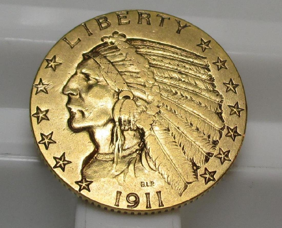1911 S $5 Gold Indian Half Eagle