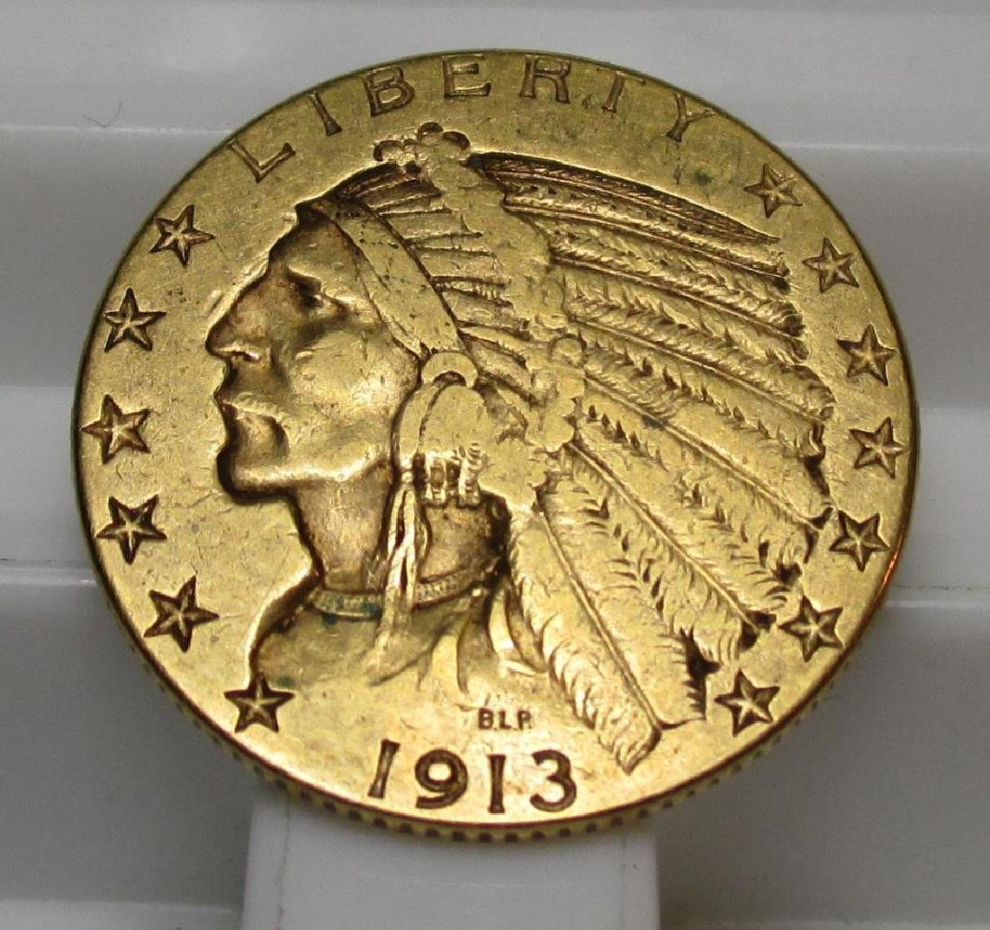 1913 $ 5 Gold Indian Half Eagle