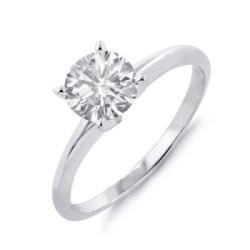 2W: .50ct Solitaire Engagement Ring 14K White Gold