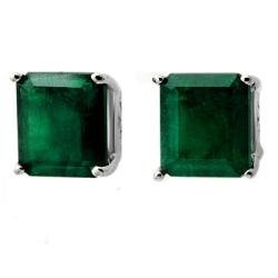 3W: 2.60 ctw Emerald Earrings 14kt White Gold Jewelry