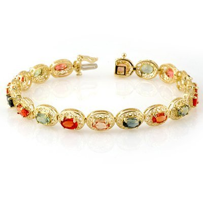5W: Bracelet 12.9 ctw Multi-Color Sapphire Gold Jewelry