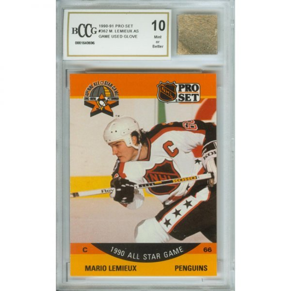 1O: Mario Lemieux Mint 10 Card and Game Used Glove