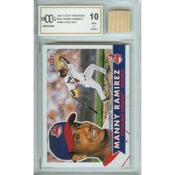 4O: Manny Ramirez Mint 10 Card and Game Used Bat