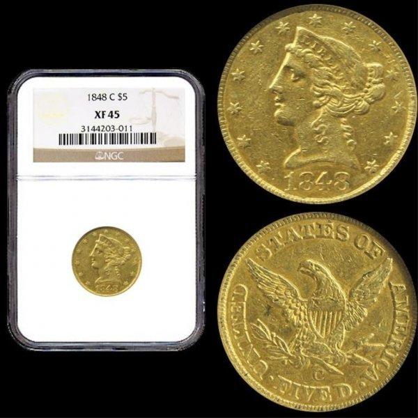190M: Charlotte Mint $ 5 Gold Liberty-1848-C XF45 $5 NG
