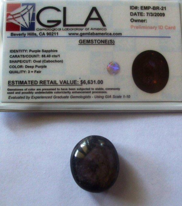 7R: 88.40 Purple Sapphire Gemstone $6631