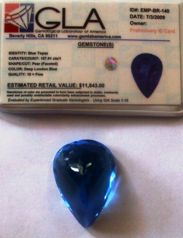 11R: 157.91 Blue Topaz Gemstone $11843