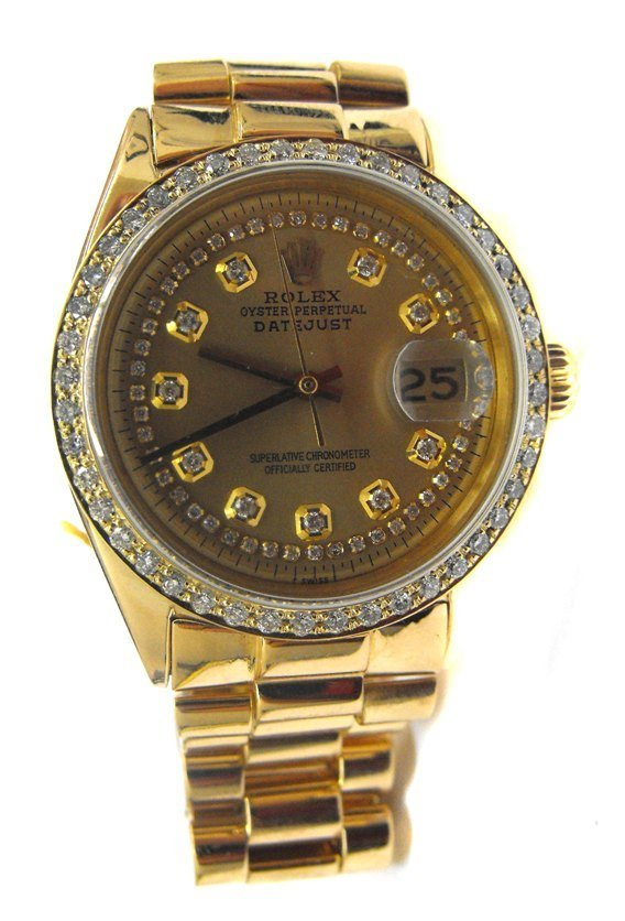 1E: Rolex  Presidential Man's Watch 18k YG w/ Diamonds
