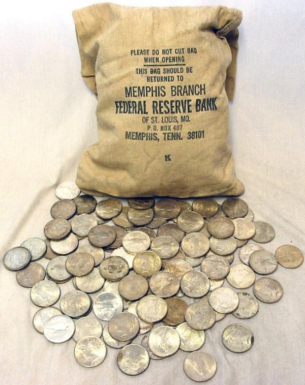 7B: Lot of 50 Peace Silver Dollars-