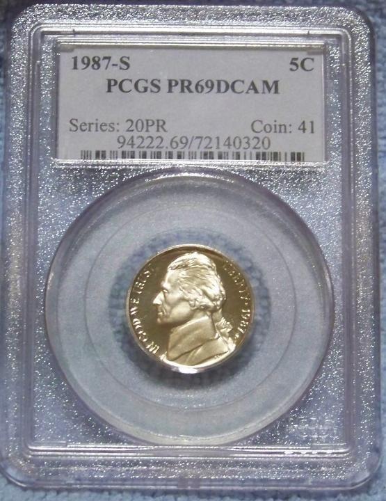 3: 1987-s PCGS PR 69 DCAM- 5 cent coin