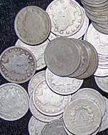 9L: Lot of 40 V Nickels, well circulated coins