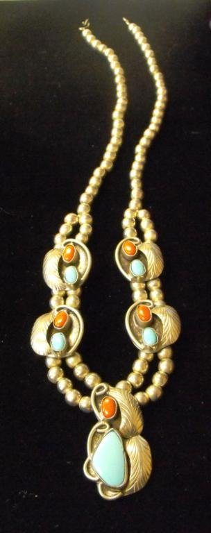 8: American Indian Coral & Turquoise Pawn Necklace