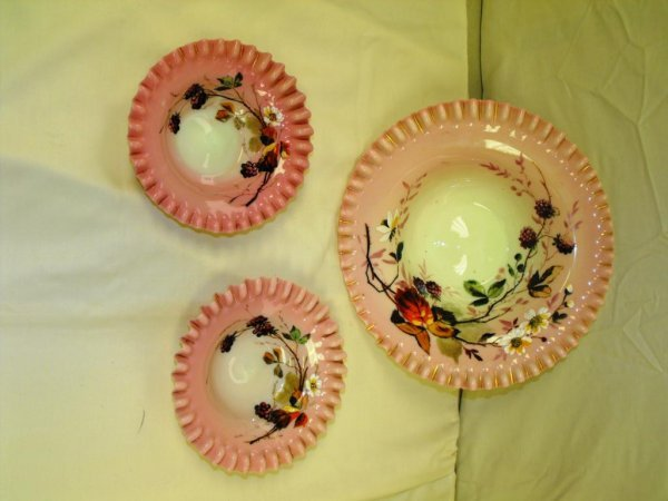 122: RARE Pink Custard Glass Decorated Brides Bowl