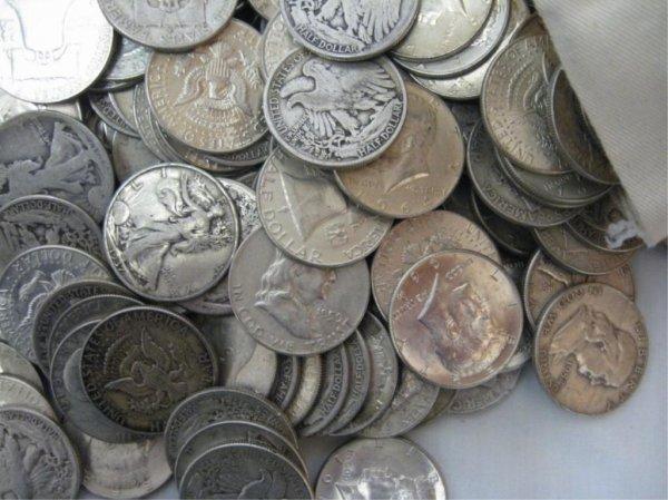 1B: Lot of 50 90% Silver Half Dollars