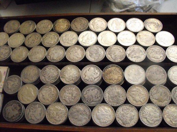 1C: Roll of 20 Morgan Silver Dollars- 1878-1921 g-xf