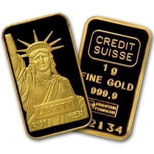 9: (1 gram) .9999+ Fine Gold Bar - Credit Suisse (St