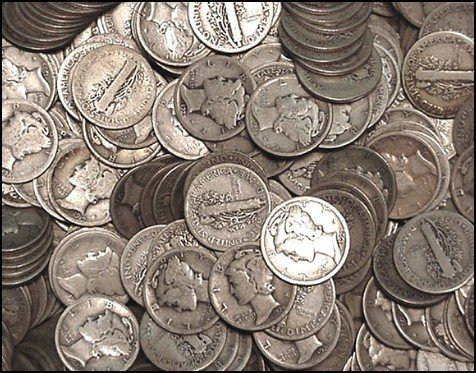 5B: 50 Mercury Dimes- $ 5 Face Value- Circulated Coins