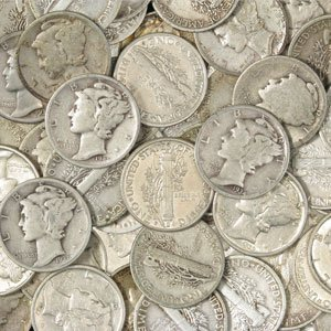 9B: 50 Mercury Dimes- $ 5 Face Value- Circulated Coins