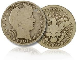 1J: Lot of 10 Barber Quarter Dollars- Random Date-