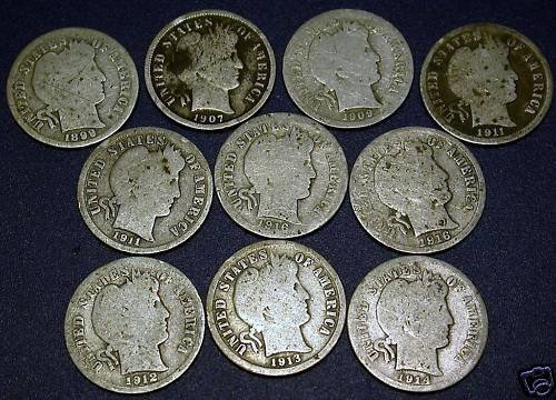 8J: Lot of 10 Barber Dimes- Random Dates