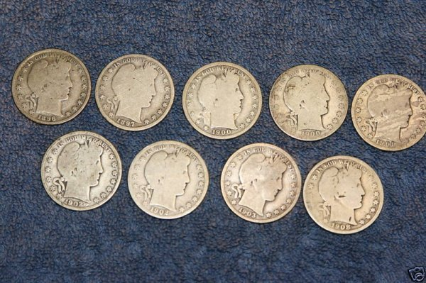 6J: Lot of 10 Barber Half Dollars- Random Dates