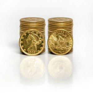 4A: Lot of 5 Random $ 5 Liberty Coins!