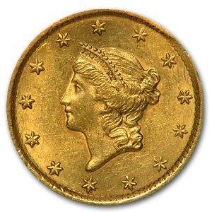6: 1850's Gold Liberty $ 1 Dollar