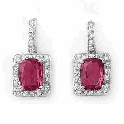 197W: Earrings 3.50 ctw Diamond Pink Tourmaline