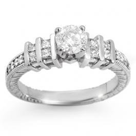 1W: Natural 1.0 ctw Diamond Ring 14K White Gold