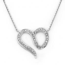 2J: Natural 0.75 ctw Diamond Necklace 14K White Gold