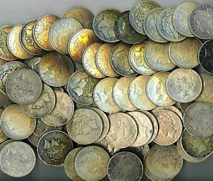 4: Lot of 45 US SILVER DOLLARS- PRE 1935 Peace/Morgan