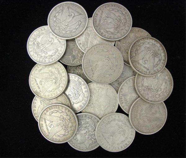 5: Lot of 20 Circulated Morgan Silver Dollars-