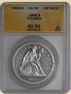 1L: 1868 Seated Liberty $ AU50 Details