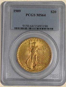1N: 1909 $20 St. Gaudens MS64 PCGS