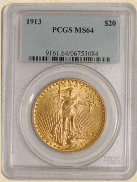 2N: 1913 $20 St. Gaudens MS64 PCGS