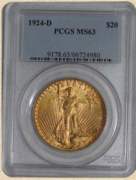 4N: 1924-D $20 St. Gaudens MS63 PCGS