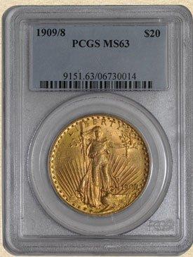 5N: 1909/8 $20 St. Gaudens MS63 PCGS