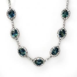 1W: Genuine 31.0 ctw Blue Sapphire & Diamond Necklace G