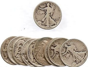 5: Lot of 10 Walking Liberty Halves- Mixed Dates-