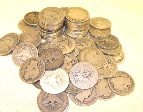 5: Lot of 10 Barber Quarters