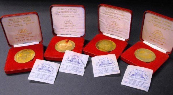 6B: Lot of 4 Brass George Stubbs Equestrian Medals-