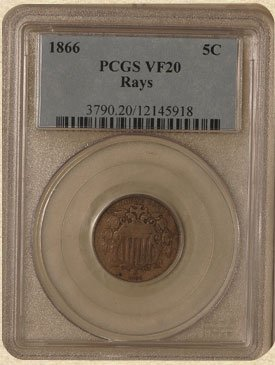 1Q: 1866 Shield 5c VF20 PCGS Rays